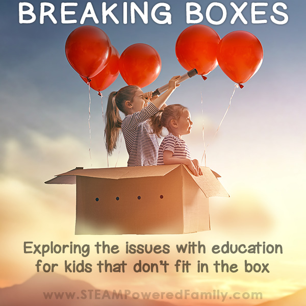 Kids in a box floating through the sky as they break boxes overcoming issues with education