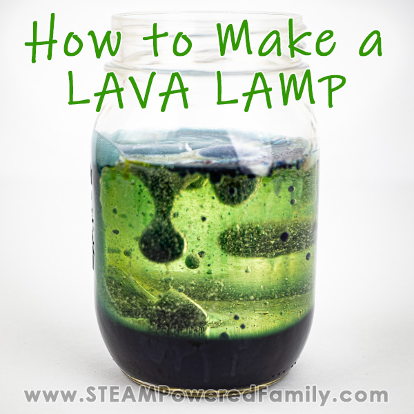 Against a white background a mason jar has dark and light green liquids with bubbles in dark green going through the light green layer in a lava lamp style. Overlay text says How to Make a Lava Lamp