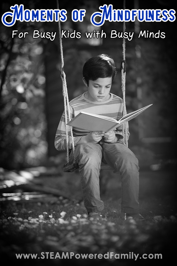 Child reading in a swing experiencing mindfulness