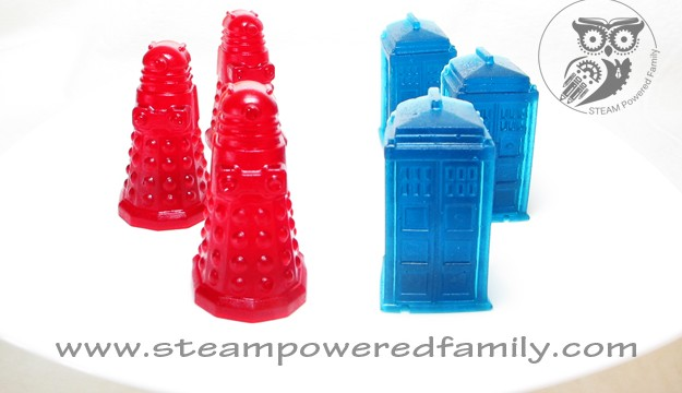 Handmade Doctor Who TARDIS and Dalek Gummy Candies