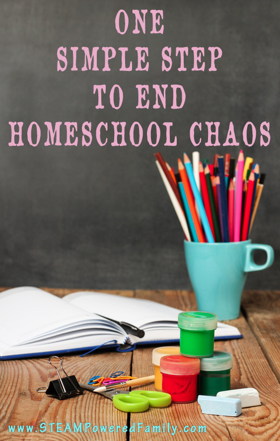 1 Simple Step To End The Homeschool Chaos - Has chaos taken over your homeschool? Are you struggling to keep everyone on schedule and get work done? End homeschool chaos with this simple tip.