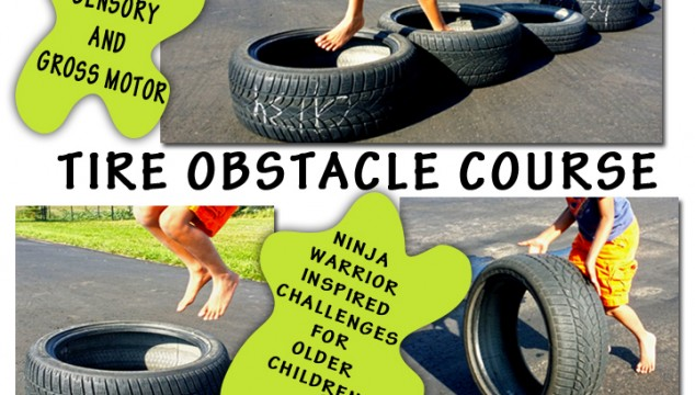 Tire Obstacle Course With Ninja Warrior Inspired Challenges – Sensory & Gross Motor