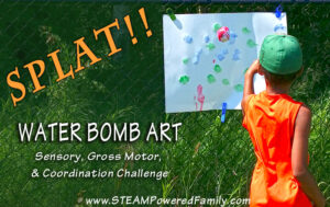Water Bomb Art - A sensory, gross motor and coordination challenge. Excellent for sports lovers!