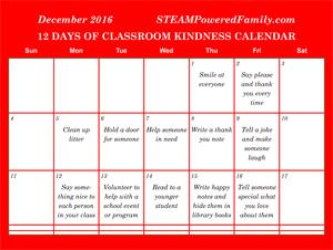 classroom kindness christmas calendar