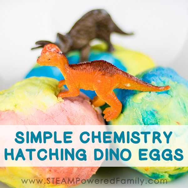 simple baking soda and vinegar chemistry experiment hatching dino eggs