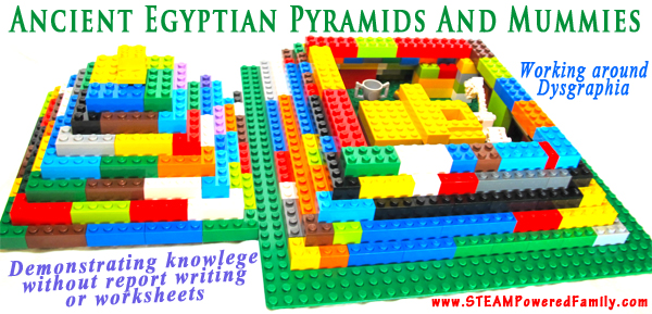Working Around Dysgraphia With Lego. A fun way of demonstrating knowledge about Ancient Egypt with Lego. Wait until you see the inside!