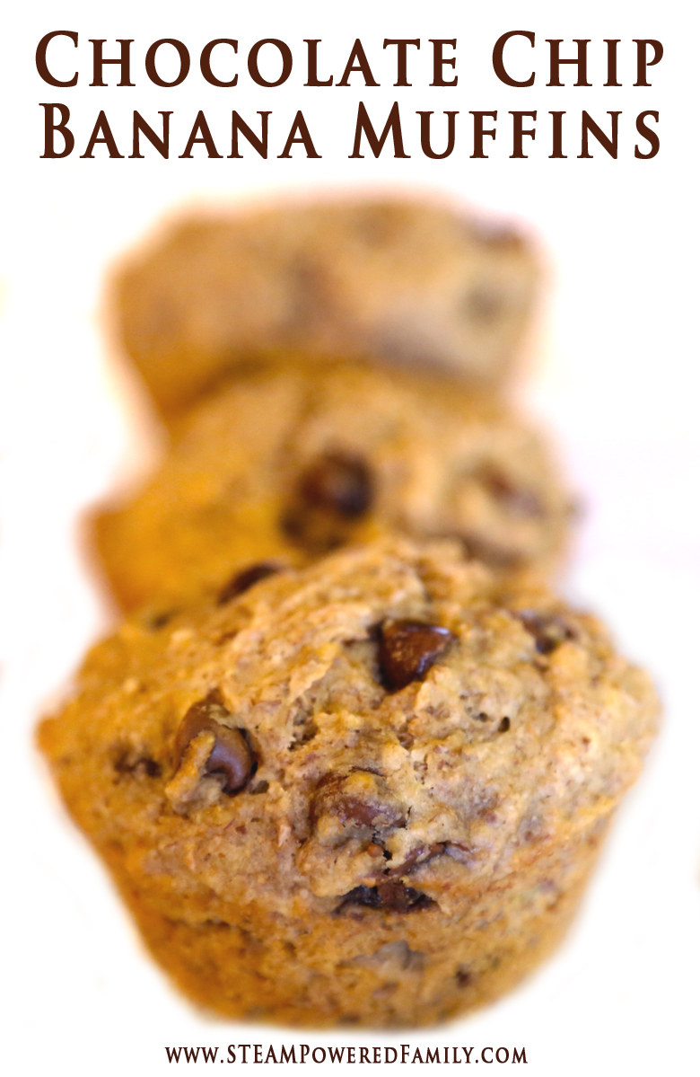 Chocolate Chip Banana Muffins - Just enough sweetness to make even the pickiest eater ask for seconds of this healthy snack. Also a great treat for helping kids suffering from constipation. Helps get things moving naturally and gently.