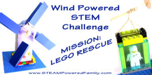 "Wind Power STEM Challenge - Mission: Lego Rescue. A fantastic STEM challenge that encourages the creation of mechanical energy with a tinker box windmill to ""rescue"" a minifig."