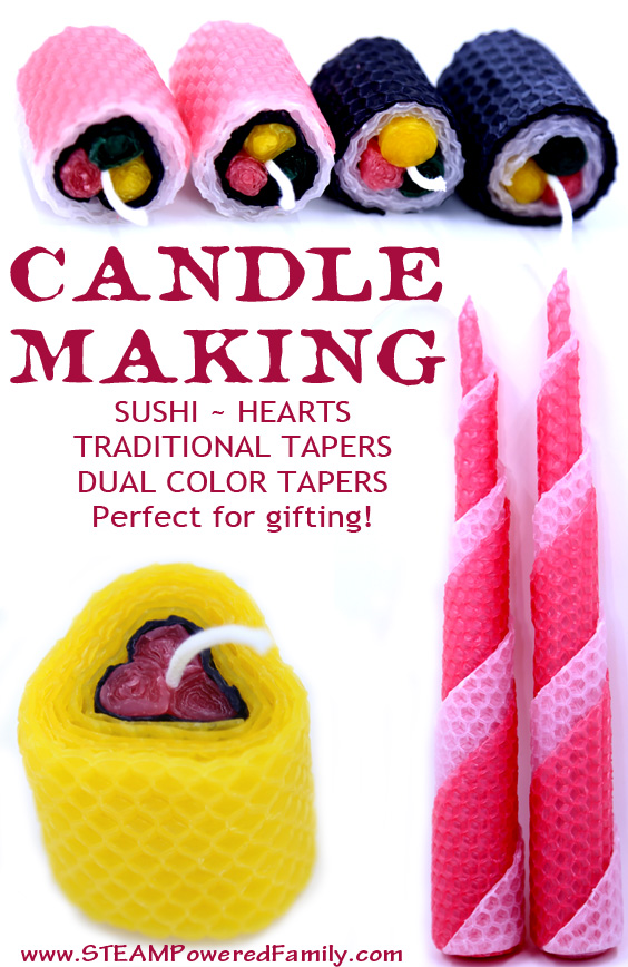 Beeswax candle making for kids.
