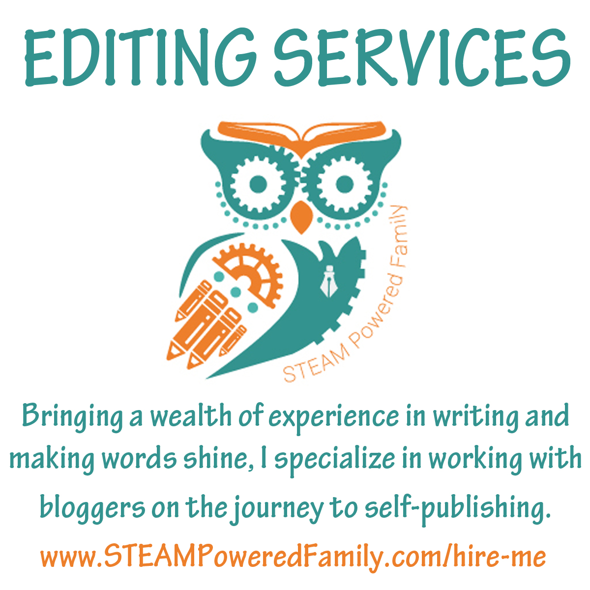 Editing Services From STEAM Powered Family - specializing in bloggers on the journey to self-publishing