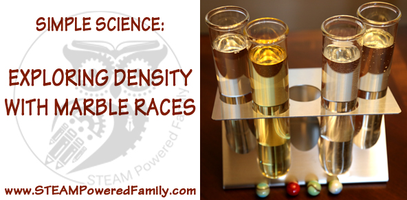 Simple Science: Exploring Denisty with Marble Races. A great way to see the effect of liquid density with stuff you have in your house right now.