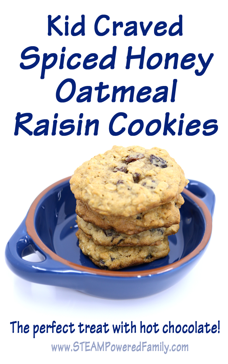 Spiced Honey Oatmeal Raisin Cookies, kid craved and kid approved. The perfect treat with a hot cuppa tea or hot chocolate. Great, easy recipe for an afternoon of family baking.