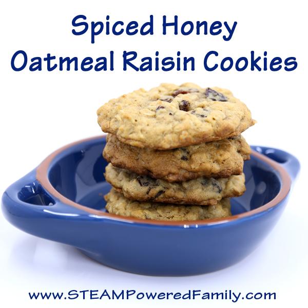 Spiced Honey Oatmeal Raisin Cookies