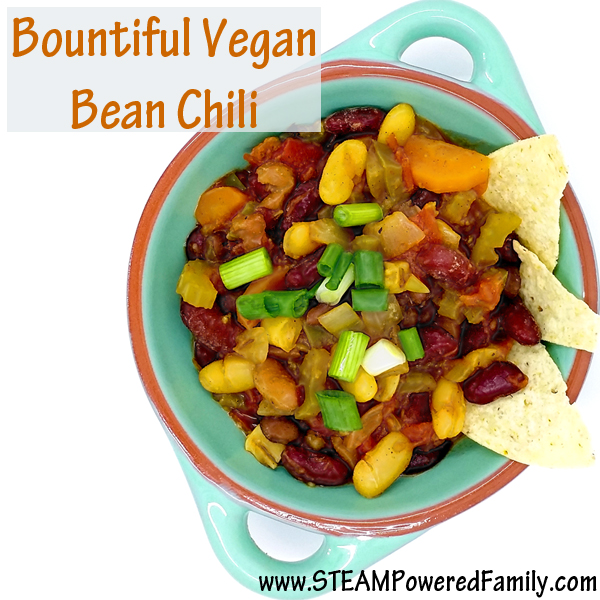 Bountiful Vegan Bean Chili - this simple recipe is great for a healthy meal that will appeal to all ages. Perfect for pot lucks and keeping the waist trim! Every time I make this I'm begged for the recipe, so here it is!