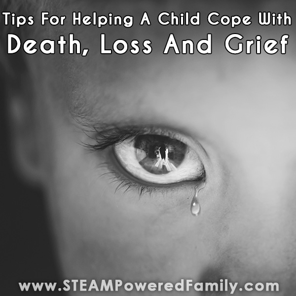 A child crying dealing with death loss and grief as a tear rolls down their cheek