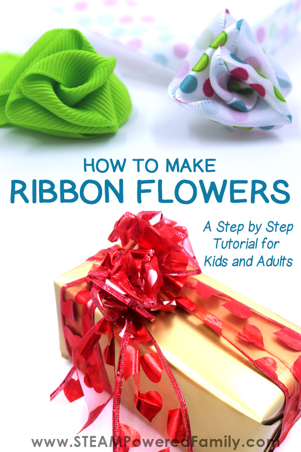 How to make ribbon flowers a step by step tutorial. Image features gorgeous handmade ribbon flowers.