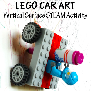 Lego Car Art - A STEM STEAM activity that also incorporates vertical surface work www.STEAMPoweredFamily.com