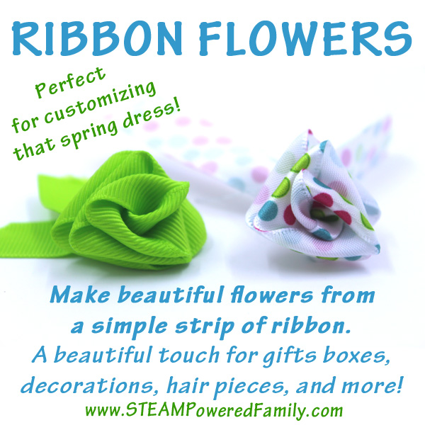 Ribbon flowers are a simple but stunning craft that can be used to add a beautiful touch to gifts, clothing, decor items and more. Simple enough for even young children to create, this is a fantastic activity with results that have the WOW factor! What a fantastic idea for customizing dresses for a wedding!