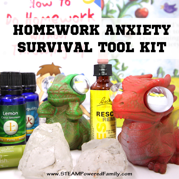 Homework anxiety is something most kids struggle with it at some point. One thing that can help children is to build a Homework Anxiety Survival Tool Kit.