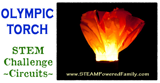 Olympic Torch STEM Challenge - Build an LED circuit to create your very own Olympic Torch and show your Olympic pride! Elementary and middle grade activity.