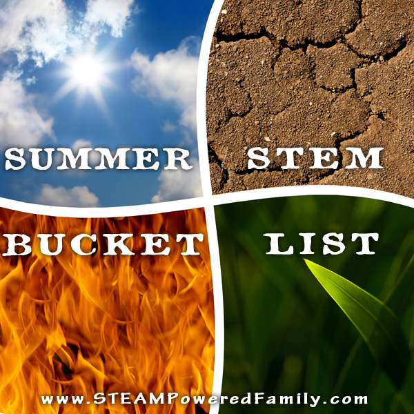 Summer STEM Activities Bucket List - 20 STEM Challenges For Summer Fun! Explore all the elements with hands on learning that will inspire kids to get outside and embrace learning with a passion.