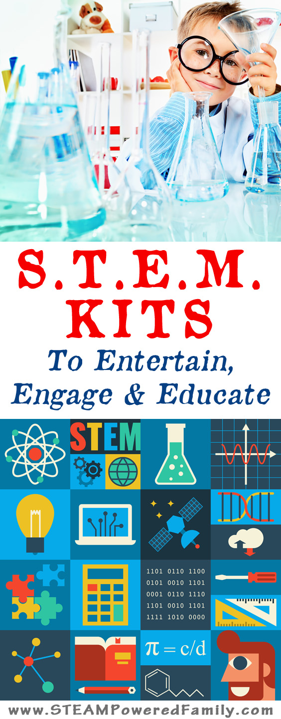 STEM Kits that engage, entertain and educate! These top picks include monthly STEM kits, project specific kits, and how to build your own STEM kit.