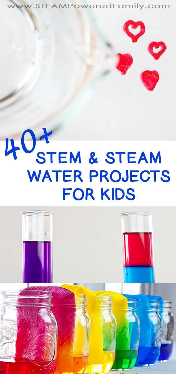 40+ of the absolute best STEM Water Projects for Kids - Learn, educate, grow with nature's favourite drink... water! States of matter, density, chemistry, engineering and more. #WaterProjectsForKids #WaterScience #WaterSTEM #ScienceExperiments
