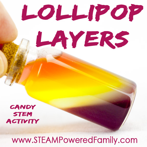 Layered Lollipops uses candy in a beautiful candy stem activity. Get creative with your color layers to make the leap from STEM to STEAM!