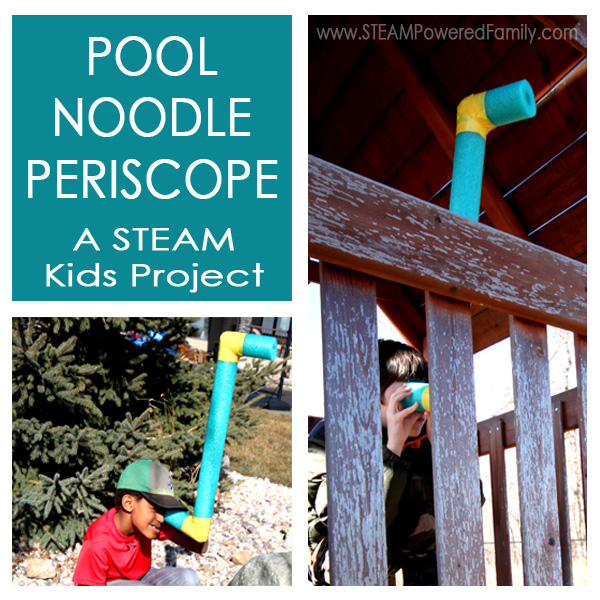 The pool noodle periscope is a fantastic engineering build project that explores the sense of sight. This is one of over 50 projects featured in STEAM Kids.