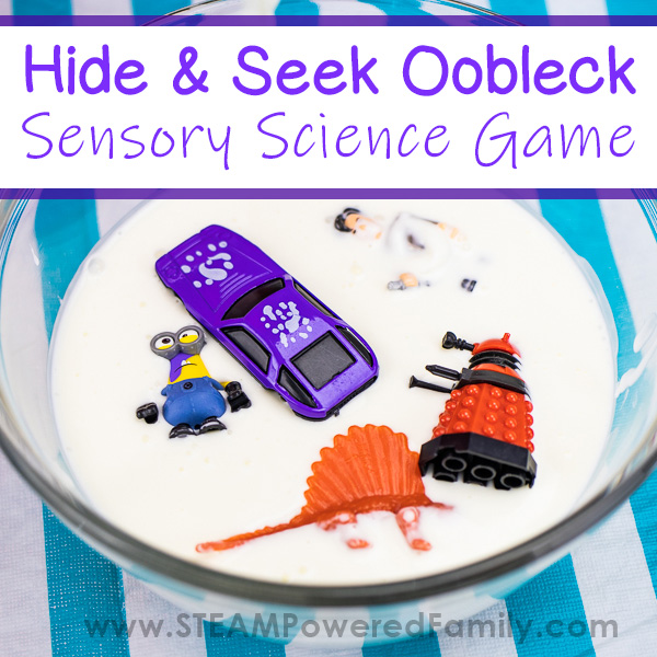 A bowl of white Oobleck with various toys in it, including a car, minion, dinosaur, dalek and doctor who. Overlay text in purple says Hide and Seek Oobleck Sensory Science Game.