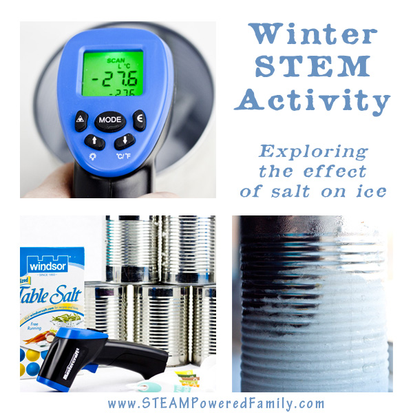 A fascinating Winter STEM Activity for elementary kids exploring the effect of salt on ice. Significant results provide rewarding STEM hands-on learning.