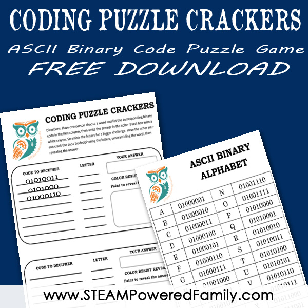 Binary code is fun to learn with this ASCII Binary Code Puzzle Game. Have fun deciphering the secret words with a magic reveal that kids love.
