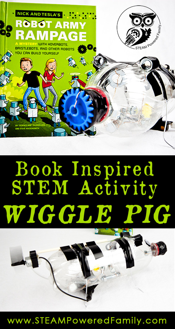 This book inspired STEM activity is a wonderful blend of fun reading and a silly and creative wiggle bot build that we nicknamed Wiggle Pig!
