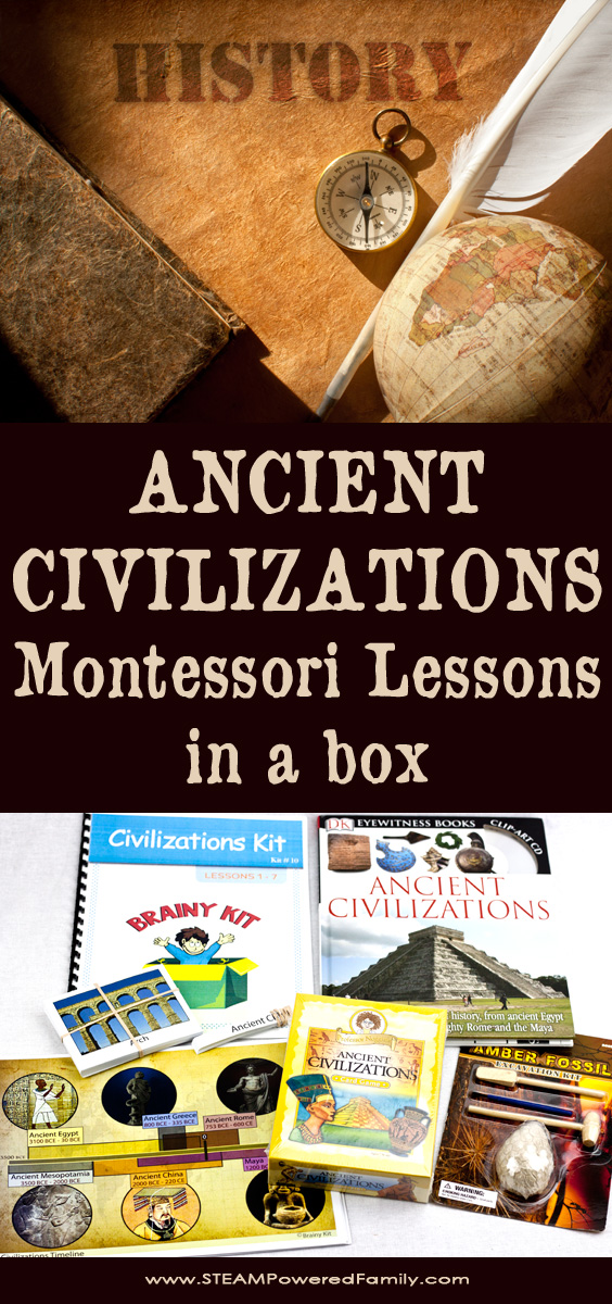 Ancient Civilizations - Montessori Lessons In A Box For Young Historians. A fun and easy week of lessons studying ancient civilizations in early elementary.