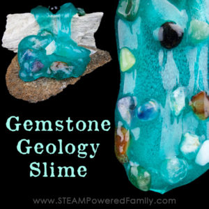 To compliment a unit study in geology we created a geology gemstone slime and it turned out beautifully! A great hands on exploration and learning slime.