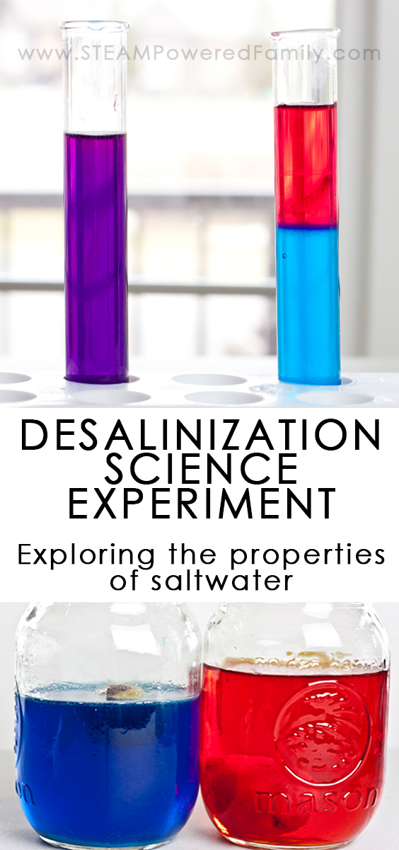 A series of experiments exploring the properties of saltwater including a desalination science experiment (the removal of salt from saltwater).