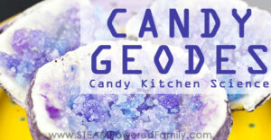 Creating this delicious candy geode kitchen science activity is perfect for combining geology, chemistry, and candy into a tasty unit study! YUM!!