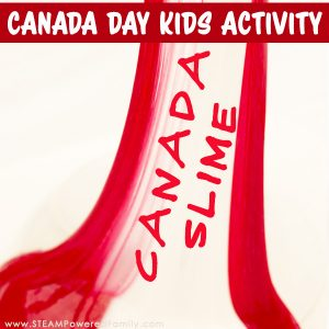 Canada Day Kids Activity making the perfect Canada Slime