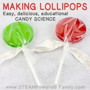 Get kids excited about science with Candy Science in the kitchen by making these delicious homemade lollipops! This lollipop recipe is easy and educational.