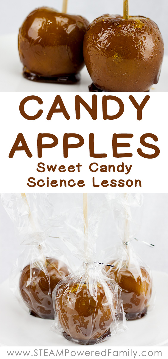 Candy Apples are a traditional treat and the perfect addition to our study into the science behind candy making. Learn science, chemistry, math and more.  #candyapples #candyscience #candymaking #candyrecipe