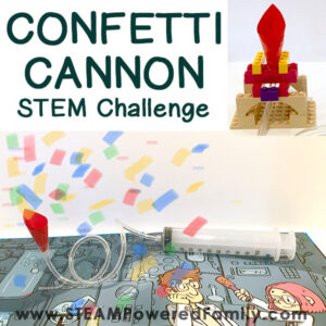 Confetti Cannons are so much fun to use and build. Here we have 2 levels of difficulty, a simple design and a STEM challenge powered by imagination.