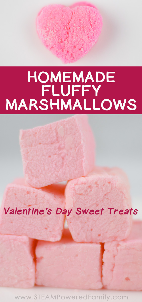 Make sweet, fluffy Valentine's Day Treats with this Homemade Marshmallow recipe. Explore the science behind marshmallows and why they are so soft, fluffy and tasty. Give yours a special Valentine's twist by making your homemade marshmallows pink and heart shaped. Perfect for those you love on Valentine's Day!  #ValentinesDayActivity #MarshmallowRecipe #ValentinesDayTreat #MarshmallowScience
