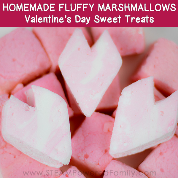 Make sweet, fluffy Valentine's Day Treats with this Homemade Marshmallow recipe. Explore the science behind marshmallows and why they are so soft, fluffy and tasty.