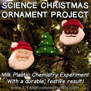 Bring a little science to the holiday season with a Science Christmas Ornament Project. Create durable, festive, gorgeous pieces with milk plastic chemistry