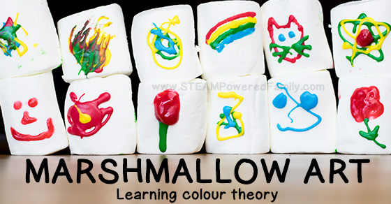 Marshmallow Art is a fun way for all ages to learn with colour. Marshmallows make a wonderful canvas and with the right tools colour theory can be explored, while fine motor skills are developed. Older kids will enjoy challenging their artist talents on a curved surface.