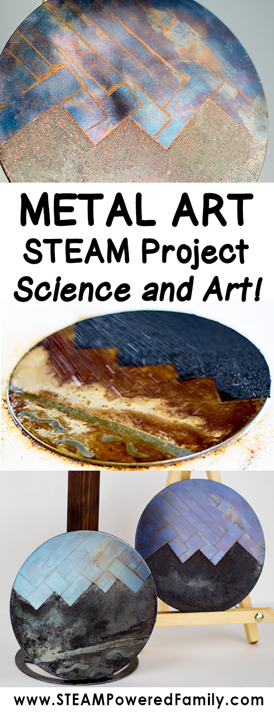 A metal art STEAM project that explores the fascinating phenomenon of metal and various forms of oxidation to create gorgeous art pieces. Applying techniques used by blacksmiths since 11th or 12th century BC.