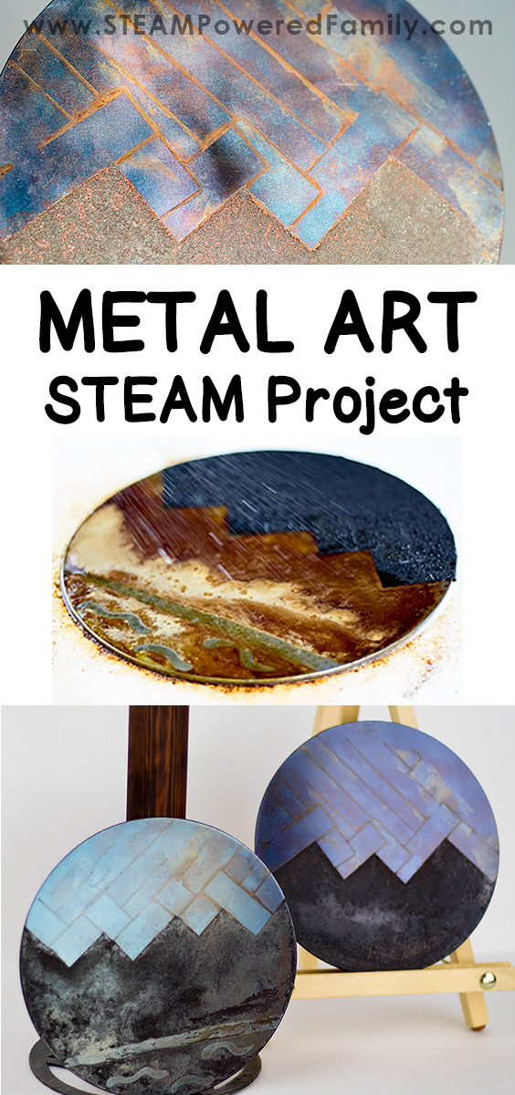 A metal art STEAM project that explores the fascinating phenomenon of metal and various forms of oxidation to create gorgeous art pieces. Applying techniques used by blacksmiths since 11th or 12th century BC, this metal art project is a wonderful combination of history, science, hands-on exploration, chemistry and art. #metalart #STEAM #oxidation #chemistry