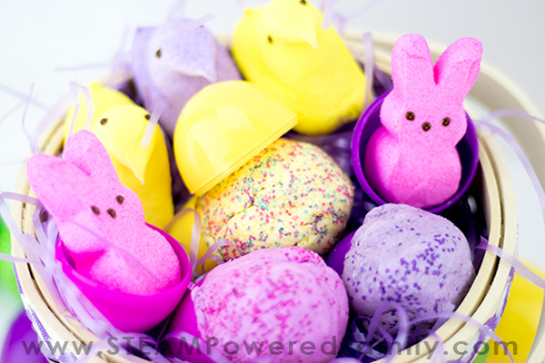 Peeps Edible Playdough recipe with glitter created by STEAM Powered Family