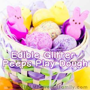Edible playdough is a fantastic sensory play product, encourage learning and exploration with all the senses. This easy DIY playdough recipe has glitter for an extra special treat. The best part is that it is all edible! Using Peeps makes it perfect for Easter, or replace with marshmallows for a year round treat.