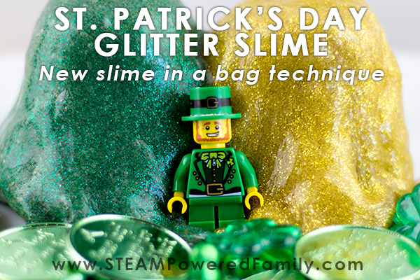 St. Patrick's Day Slime - glitter green and gold slime in a bag. Great technique for sensory sensitive kids who want to make slime.